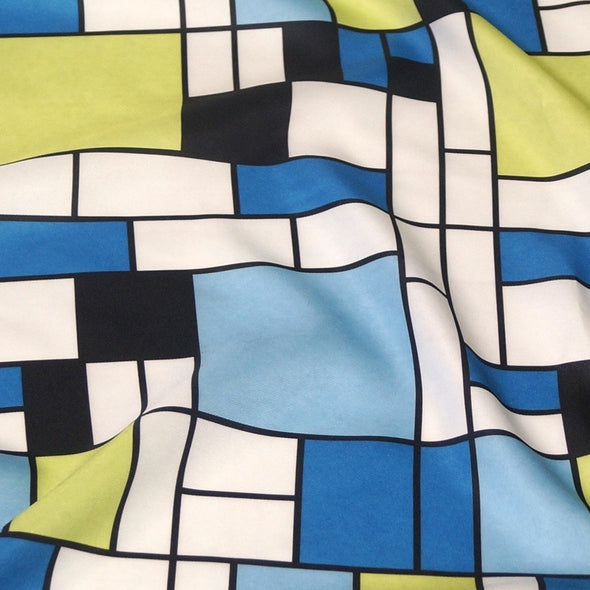 Mondrian Print Table Linen in Blue
