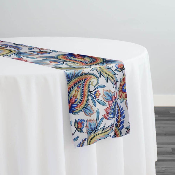 Asian Paisley (Dupioni) Table Runner in Blue