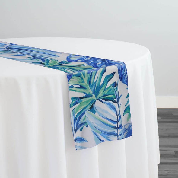 Tropical Print (Dupioni) Table Runner in Blue
