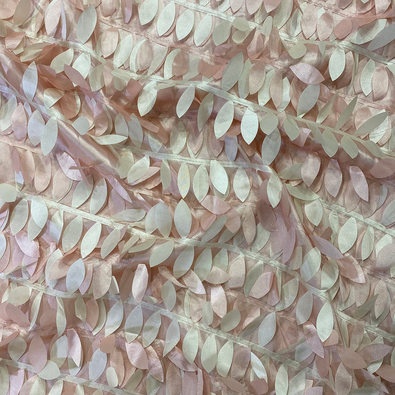 Leaf Hanging Taffeta Table Linen in Blush Mix