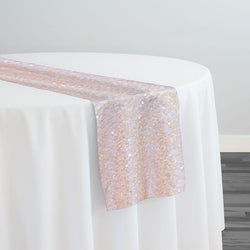 Taffeta Sequins Table Runner in Blush Transparent