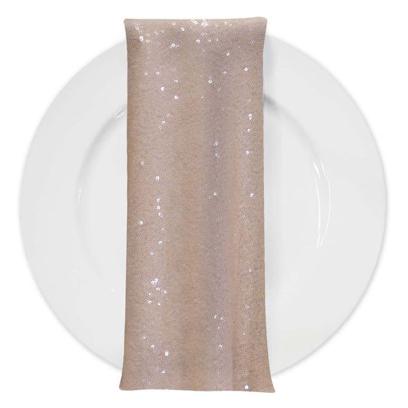 Glitz Sequins (w/ Poly Lining) Table Napkin in Blush Transparent