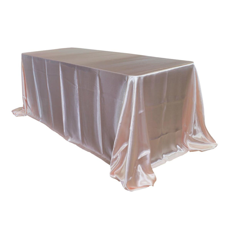 "Economy Shiny Satin 90""x132"" Rectangular Tablecloth - Blush"