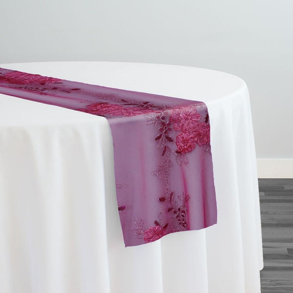 Ribbon Mesh Lace Table Runner in Blush