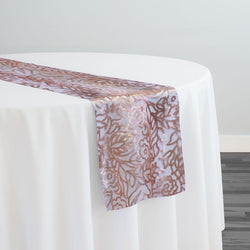 Fiori Leaf Sequins Table Runner in Blush