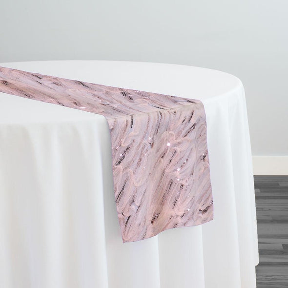 Brilliant Sheer Sequins Table Runner in Blush