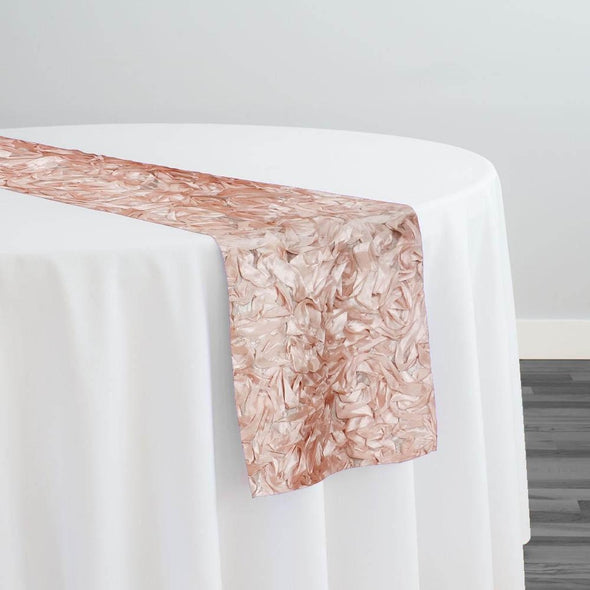 Curly Satin Table Runner in Blush