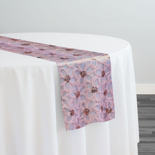 Daisy Sequins Table Runner in Blush