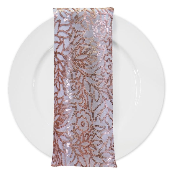 Fiori Leaf Sequins (w/ Poly Lining) Table Napkin in Blush