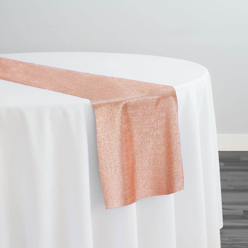 Metallic Burlap (100% Polyester) Table Runner in Blush