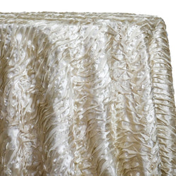 Austrian Wave Satin Table Linen in Bone