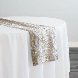 Austrian Wave Satin Table Runner in Bone