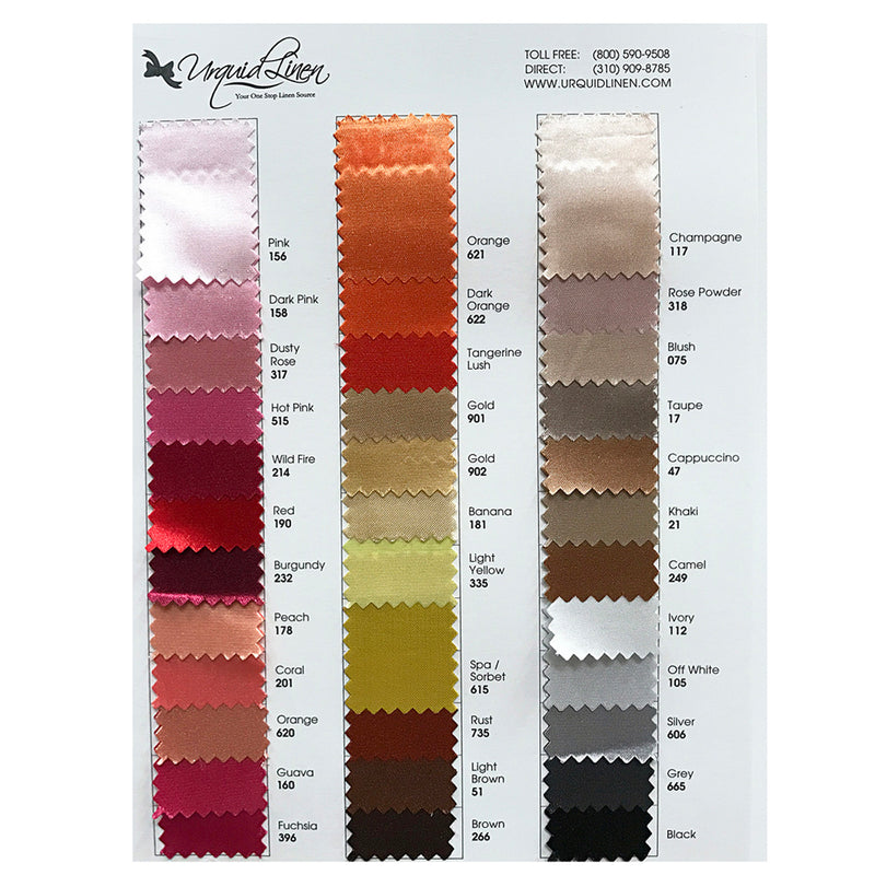 "Bridal Satin Drapery Panels (58"" Wide) / 70 Colors"