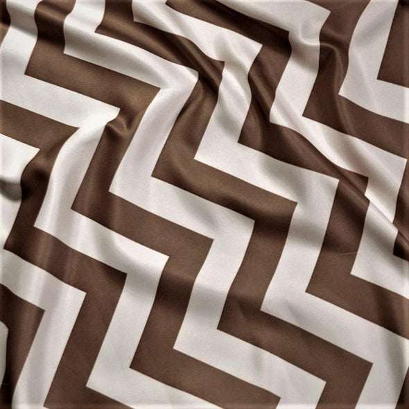 Chevron Print Table Napkin in Brown and White
