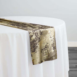 Cascade Jacquard Table Runner in Brown and Gold