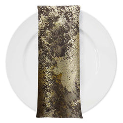 Cascade Jacquard Table Napkin in Brown and Gold
