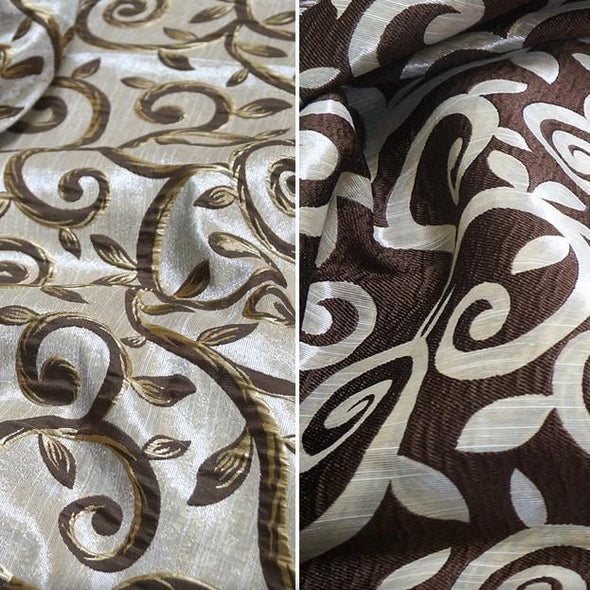 Tuscany Jacquard (double-sided) Wholesale Fabric in Brown and Taupe