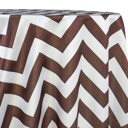 Chevron Print (Lamour) Table Linen in Brown and White