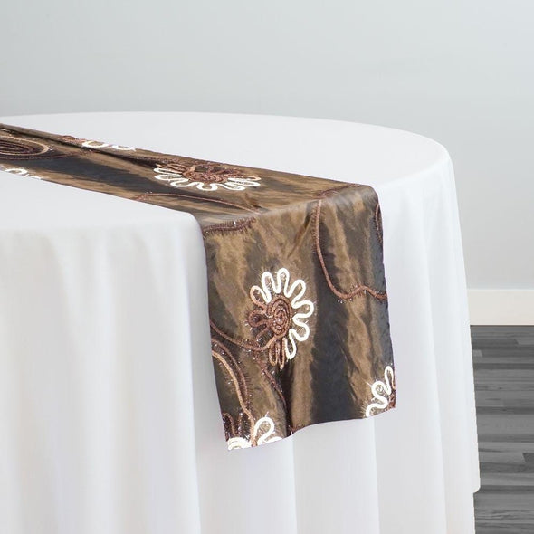 Eyelash Embroidery Table Runner in Brown