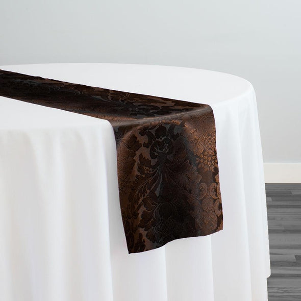 Damask Poly Table Runner in Brown 1266