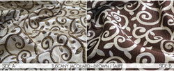 "3pcs - Tuscany Jacquard - 8' Tall + 4"" Pocket - Taupe Brown"