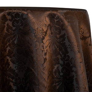 Damask Poly Table Linen in Brown 1266