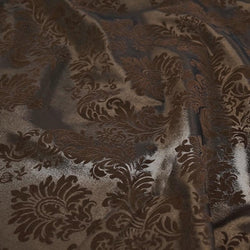 Damask Flocking Taffeta Table Linen in Brown on Brown
