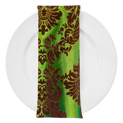 Damask Flocking Taffeta Table Napkin in Brown on Olive