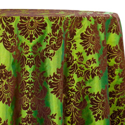 Damask Flocking Taffeta Table Linen in Brown on Olive