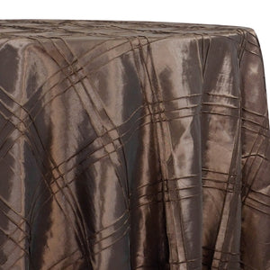 Triple Pleat Pintuck Table Linens in Brown