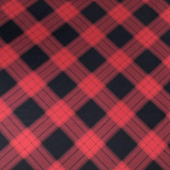Plaid (Poly Print) Wholesale Fabric in Buffalo Plaid