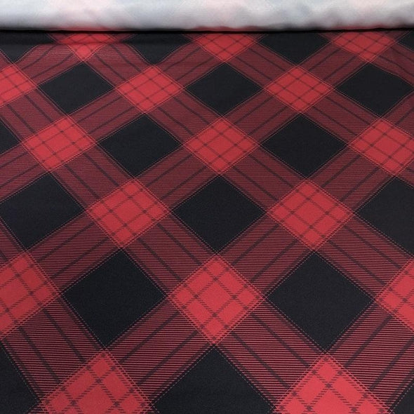 Plaid Poly Print Table Linen in Buffalo Plaid