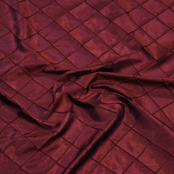 "2"" Pintuck Taffeta Table Runner in Burgundy 015"