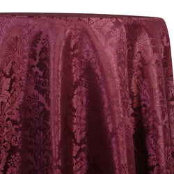 Damask Poly Table Linen in Burgundy