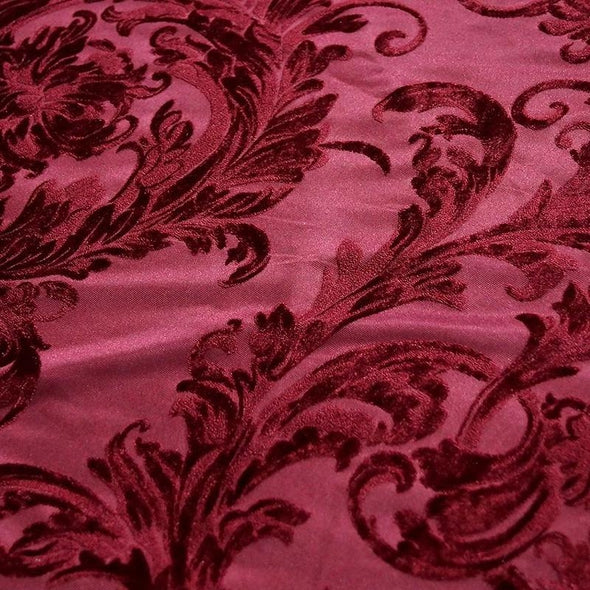Victorian Jacquard Sheer Wholesale Fabric in Burgundy