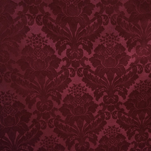 Damask Poly Wholesale Fabric in Burgundy