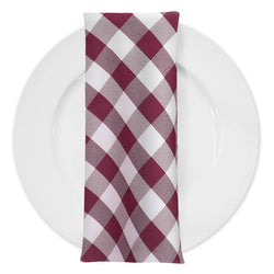 Polyester Checker (Gingham) Table Napkin in Burgundy