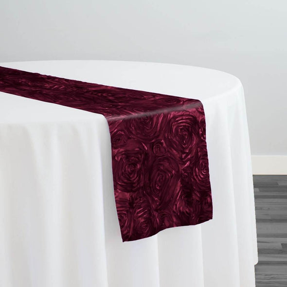 Rose Satin (3D) Table Runner in Burgundy
