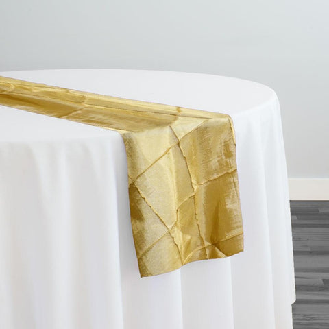 "4"" Pintuck Taffeta Table Runner in Buttercup 114"