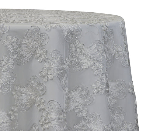 "Butterfly Lace - White 120"" Round Wedding Tablecloth"