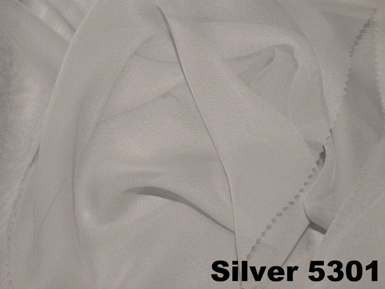 "20pcs - Chiffon - 8' Tall + 4"" Pocket - Silver"
