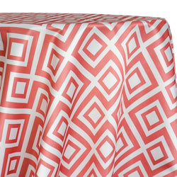 Paragon Print (Lamour) Table Linen in Coral