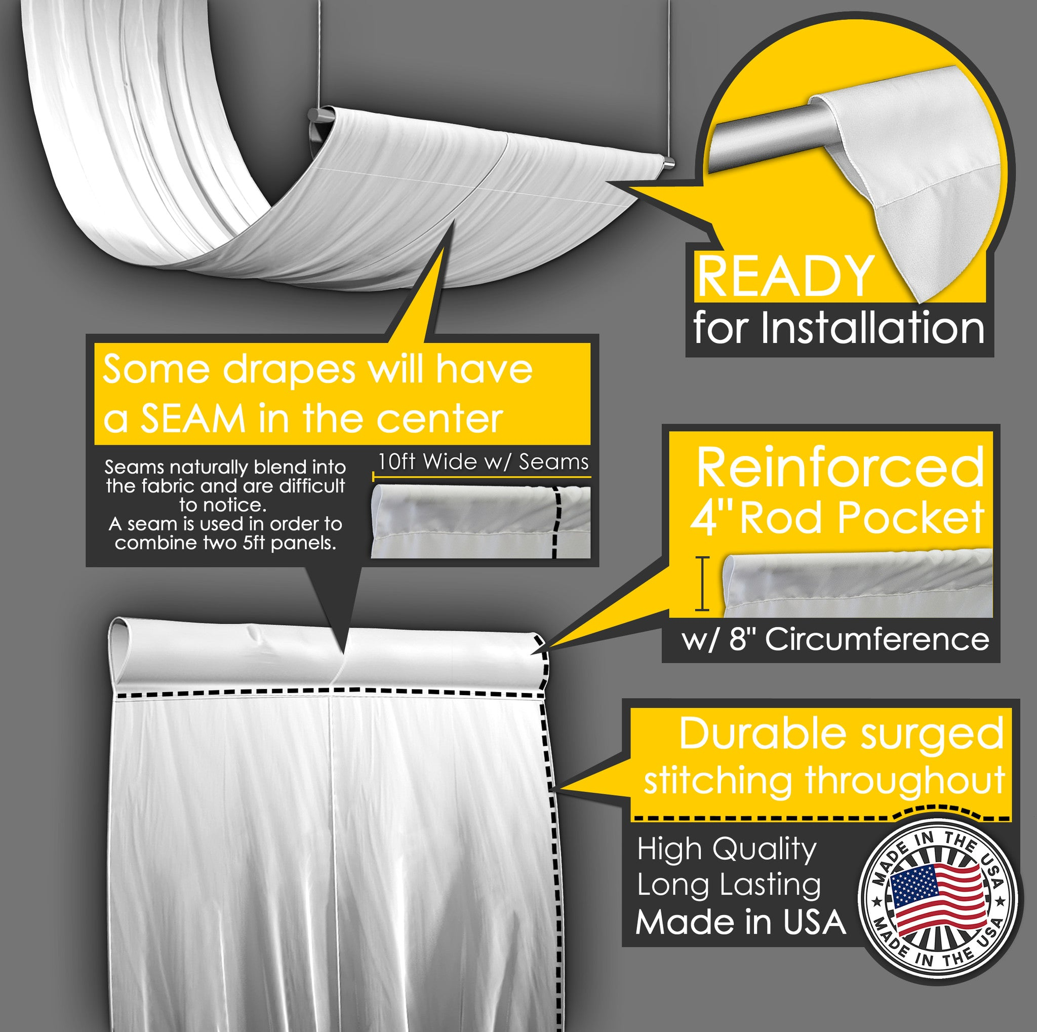 Crush Satin Ceiling Drape Collection