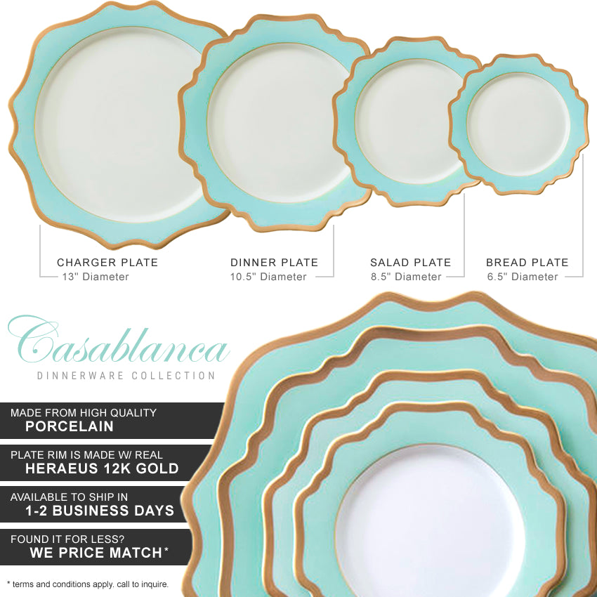 Casablanca Porcelain Collection in Aqua/Gold