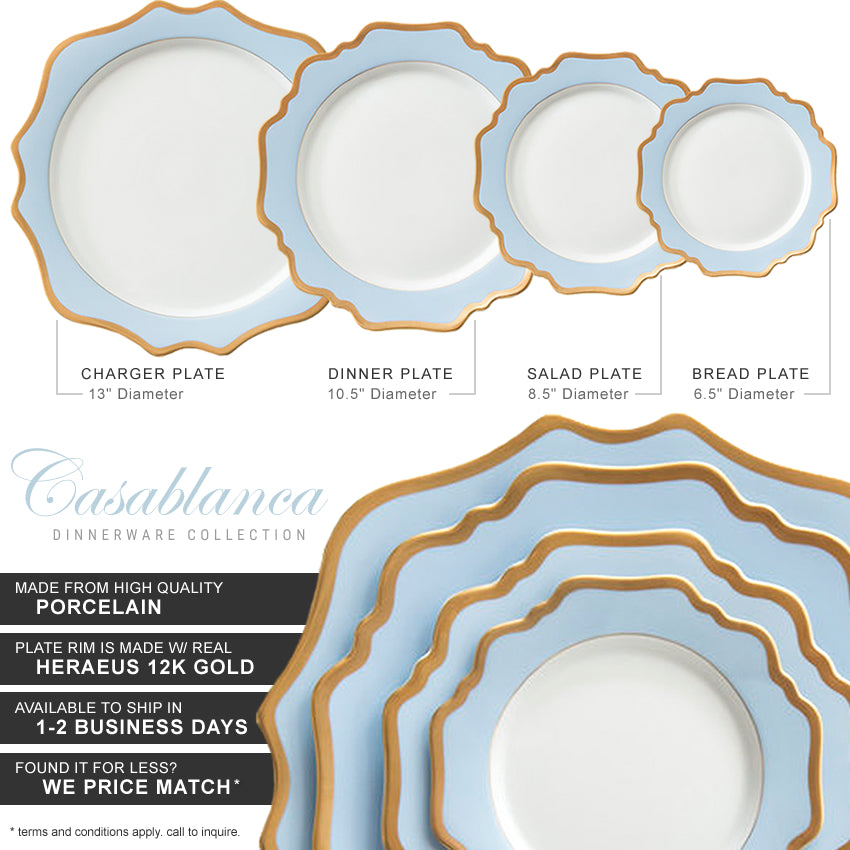 Casablanca Porcelain Collection in Baby Blue/Gold