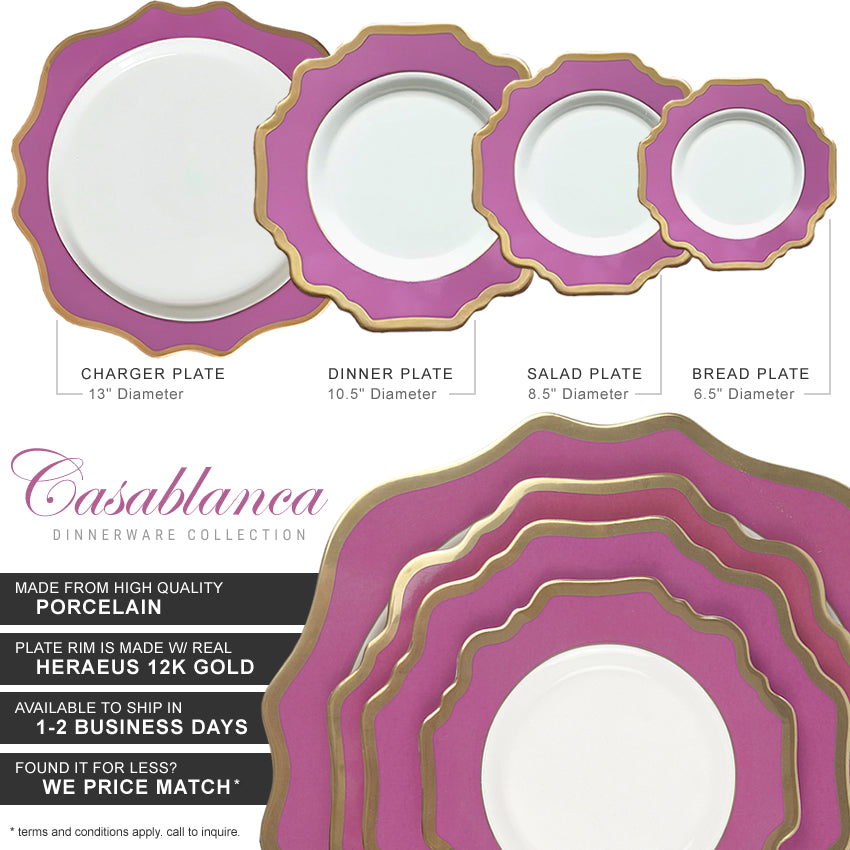 Casablanca Porcelain Collection in Berry/Gold