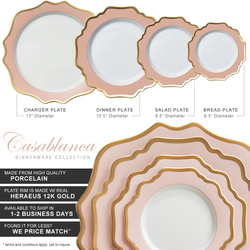 Casablanca Porcelain Collection in Blush Pink/Gold