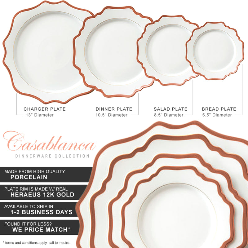 Casablanca Porcelain Collection in White/Rose Gold