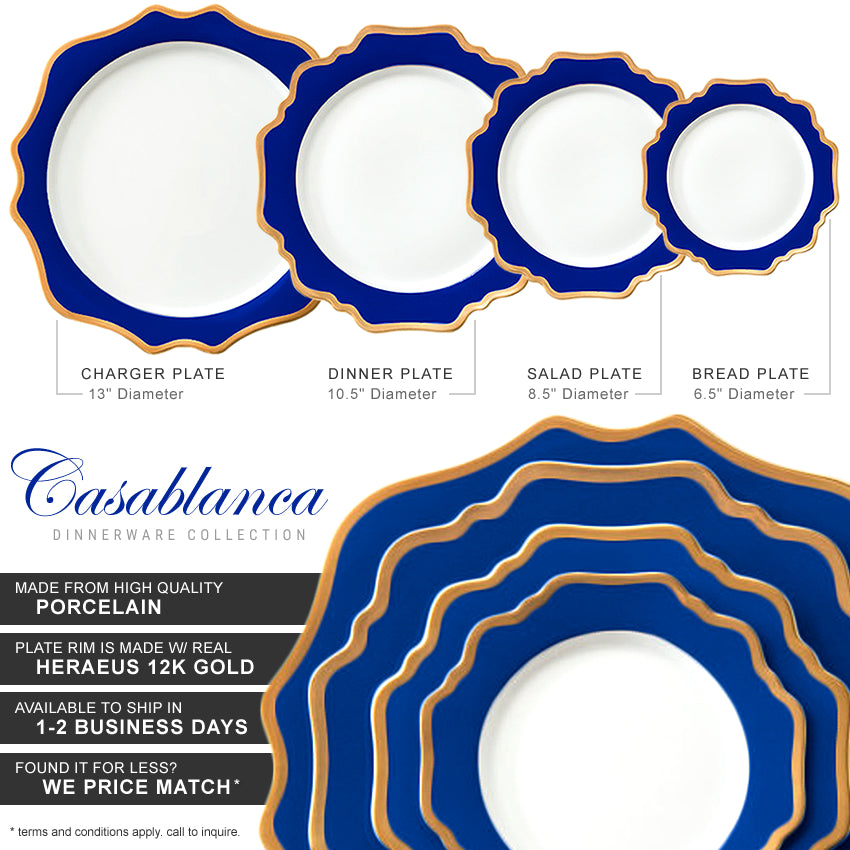 Casablanca Porcelain Collection in Royal/Gold