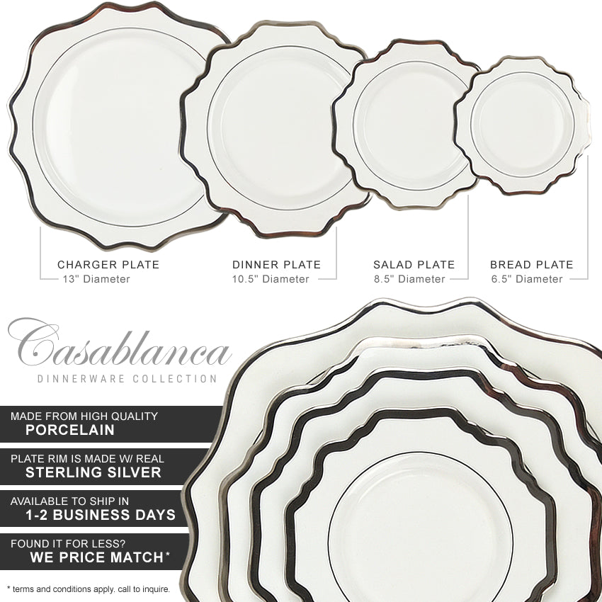 Casablanca Porcelain Collection in White/Silver